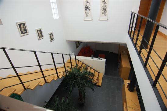 Light from the skylight illuminates the villa