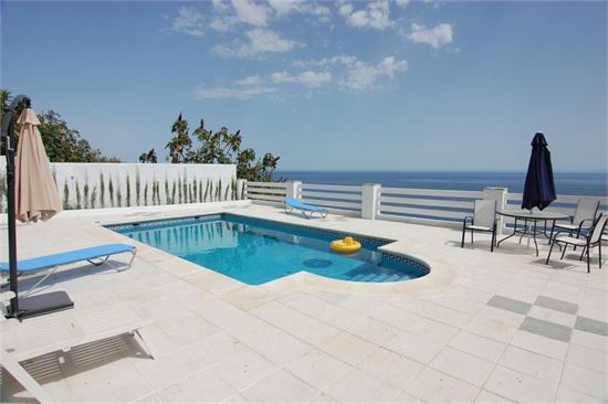 Private pool with large, sunny terrace